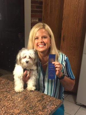 Clibbens with Georgie when he got his Canine Good Citizen ribbon.
