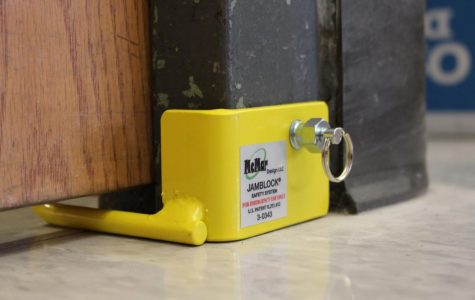 A Jamblock is placed on a door to prevent intruders from entering the room, as shown above.