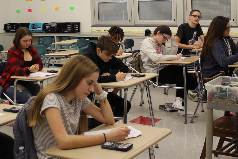 Ms. Koutsourais' eighth grade students take a math test during class on Jan. 24.