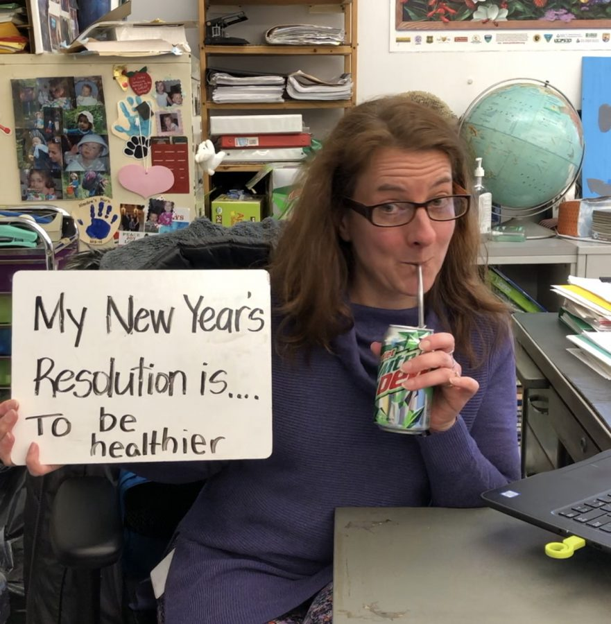 Ms. Ging, sixth grade math and science teacher, with her Diet Mountain Dew and New Year's resolution on Jan. 16 to start off the new year.