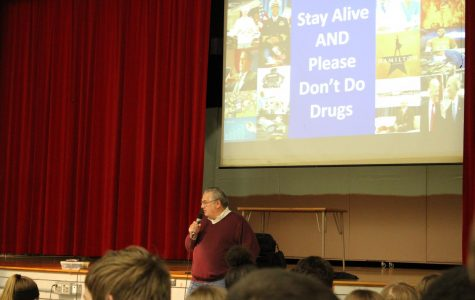 Mr. Rich LeVitt talks to the FMS students about the effects that doing drugs can have on a person's family.