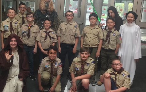 Arrow of Light Scouts crossover to Boy Scouts at Blue and Gold Banquet