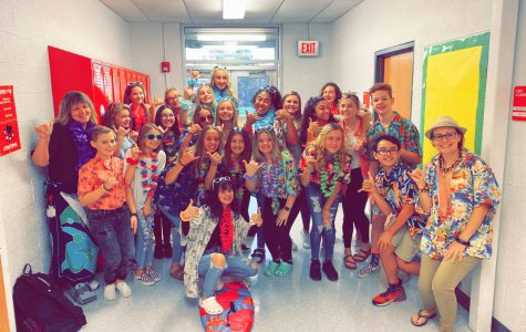 Eighth grade students dress up as Hawaiians for group day on Tuesday, Oct. 29.