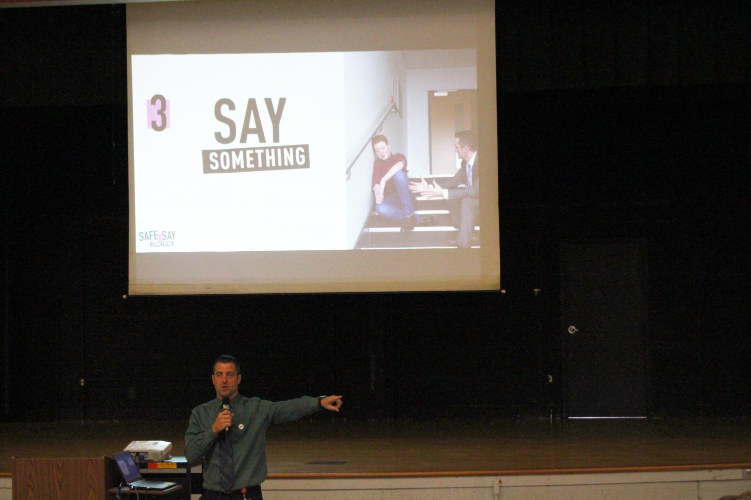 Freedom Area Middle School principal Mr. Smith introduces Safe2Say Something program to middle school students at an assembly on Oct. 2