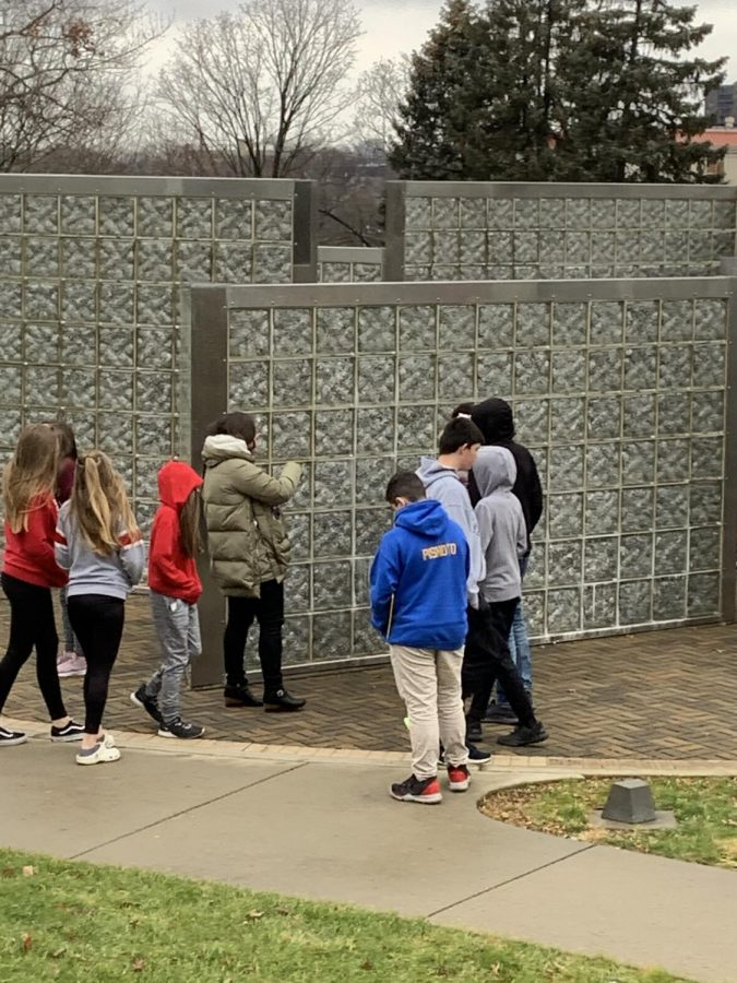Jewish Day School tour guide tells seventh graders about the monument and answers many of their questions.