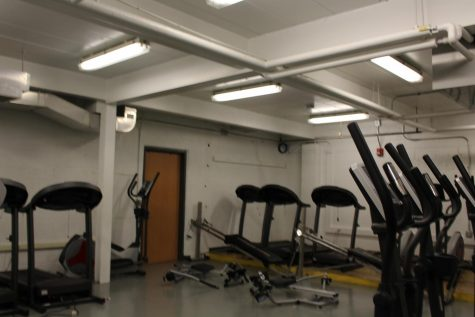 The equipment in the fitness room includes treadmills, ellipticals, and rowers.