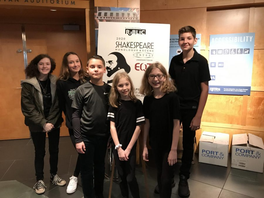 Students prepare to perform at the Shakespeare Monologue and scene contest in the lobby of the O'Reilly Theater on Feb. 10.
