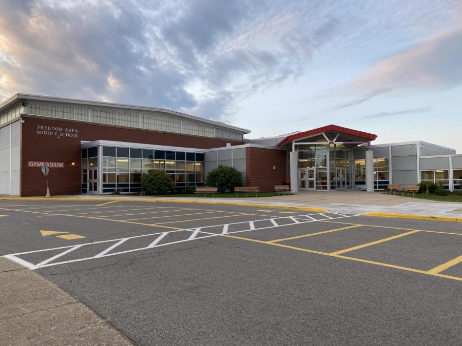 Freedom Middle School sits empty of students as students attend classes virtually from home via Google Meet.