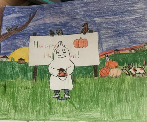 Drawing of a kid dressed as a ghost, emptying out his bucket, only to find one piece of candy.