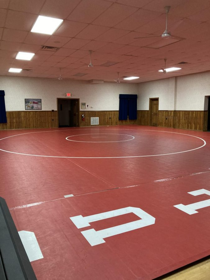 Freedom youth wrestling program's mats at the Big Knob Grange.