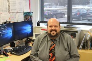 Mr. Capehart works hard at his desk after taking a position as elementary principal.  On Tuesday, February 23rd.