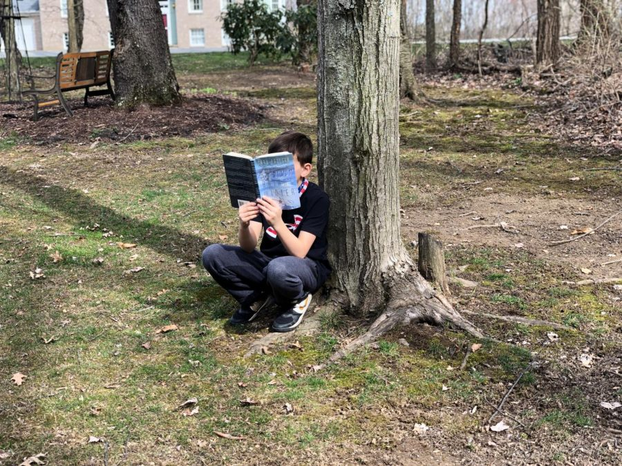Xavier Garland, fifth grader, reads a book underneath a tree in the warm spring light.