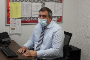 Mr. Griffith sits working in his new office on April 26.