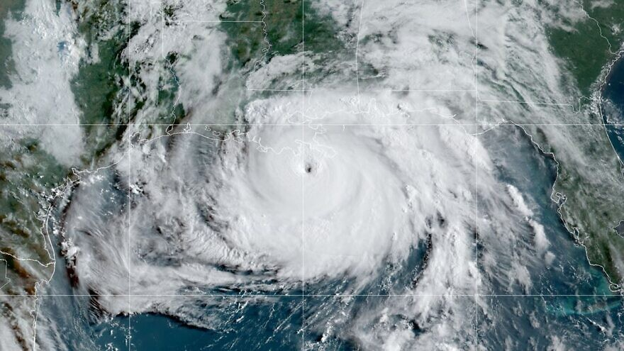 A satellite image of Hurricane Ida over the Gulf of Mexico.